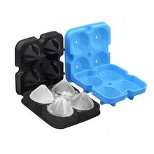 ROSENICE 4 Cavity Diamond Shape 3D Ice Cube Mold Maker Bar Party Silicone Trays Chocolate Mold Kitchen Tool 12.5×12.5×4.2cm