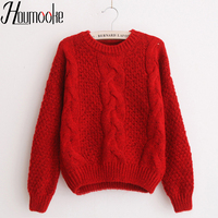 Houmooke Women Autumn Winter Cheap Sweaters Warm Thick Pullover and Jumpers Twisted Christmas Pull Femme Red Sweater out Tops