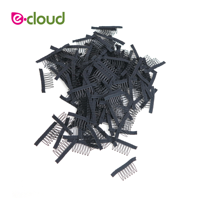 Black 50pcs-100pcs/lot Lace Wig Clips Steel Tooth Polyester Durable Cloth Wig Combs For Hairpiece Caps Wig Accessories Tools