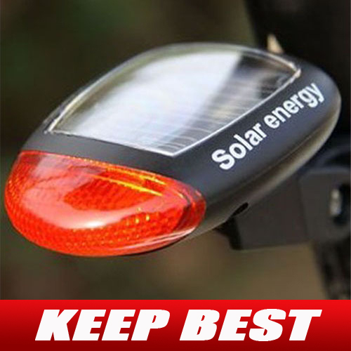 Solar Power Bike Bicycle LED Cycling Tail Rear Red Light Lamp Taillight Free Shipping
