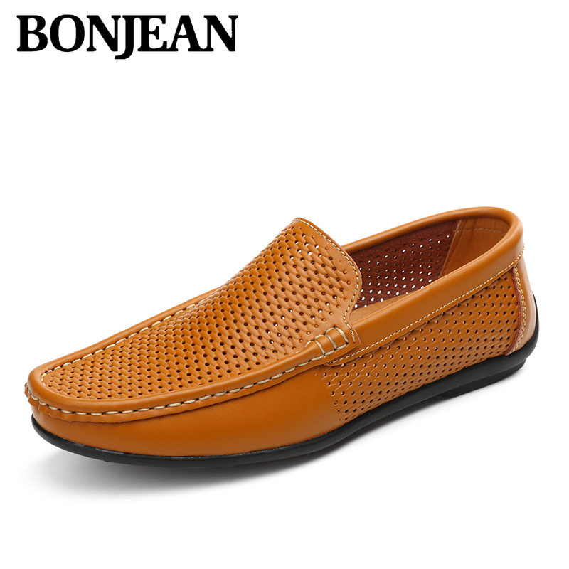 Summer Classic Mesh Leather Men Loafers Breathable Flats Men Casual Shoes Walking Hollow Lazy Shoes