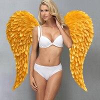 Vàng chất lượng cao đôi cánh thiên thần lông sexy cánh cổ tích quà tặng đẹp DIY trang trí đạo cụ 110*120 cm EMS miễn phí vận chuyển