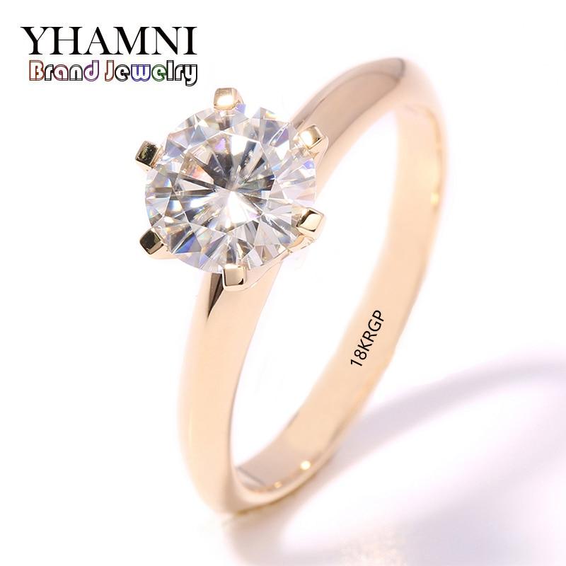 YHAMNI bijoux de mode Ont 18 18KRGP Cachet Original Jaune Bague En Or unique CZ Zircon Femmes Anneaux d'or De Mariage JR169