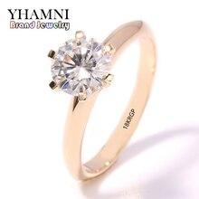 Купить с кэшбэком YHAMNI fashion jewelry Have 18KRGP Stamp Original Yellow Gold Ring single CZ Zircon Women Wedding gold Rings JR169