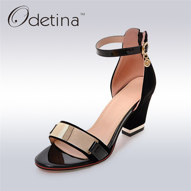 Odetina 2017 New Fashion Women Square Heel Ankle Strap Sandals Hight Heels Sexy Party Shoes Open Toe Summer Shoes Big Size 32-43 sgesvier fashion women sandals open toe all match sandals women summer casual buckle strap wedges heels shoes size 34 43 lp009