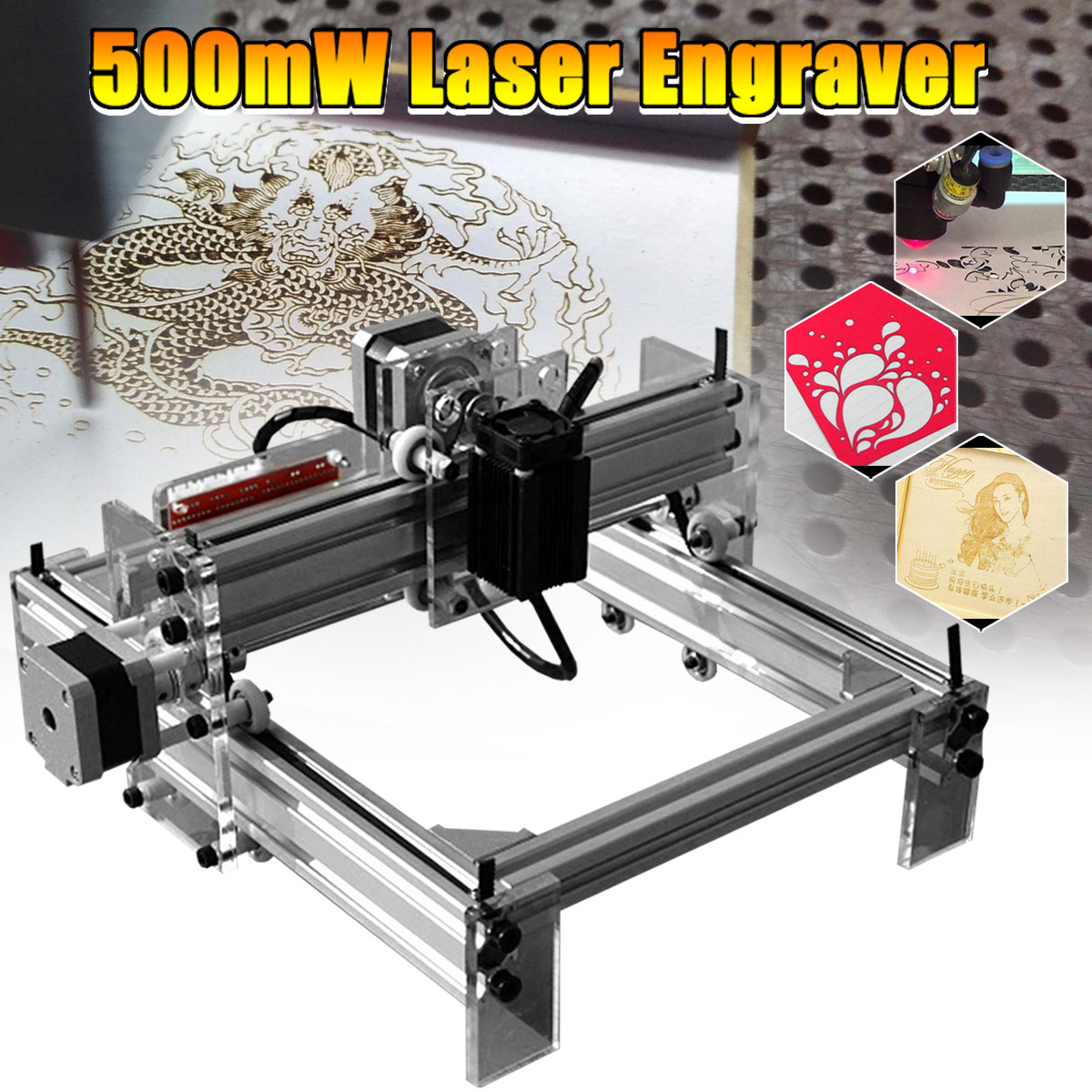 20X17cm 500mW DIY Mini Desktop Blue Laser Engraving Engraver Machine CNC Wood Router/Printer/Cutter/Power Adjust + Laser Goggles