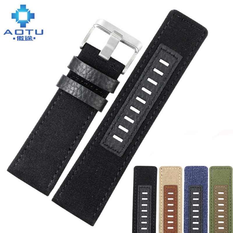 Canvas Men's Watchband For Diesel Watches 26mm Silver Buckle Watch Strap For Male Casual Canvas Watch Band Watchstrap For Diesel cnc lathe morse taper shank drill chucks 1 13mm b16 key drill chuck with arbor mt4 4 morse taper shank