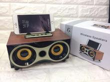 Mini Wooden Wireless Speaker Subwoofer Stereo Portable Bluetooth Radio Desktop For Mobile Phone