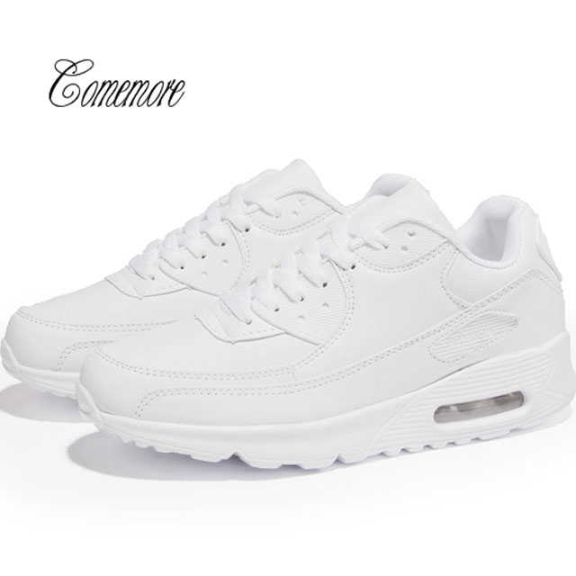 Comemore  White Sneakers Men Air Cushion Women Shoes Sport Men Leather Krassovki Men Chaussure Homme Tennis Trainers Walk