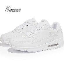 Comemore/белые кроссовки для мужчин; женская обувь с воздушной подушкой; спортивная мужская кожаная обувь; мужские кроссовки; chaussure homme; теннисные кроссовки; Прогулочные кроссовки