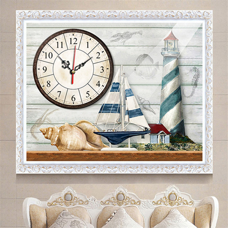 quot 5D Diamond Painting Wall Clock Diamond Embroidered Restaurant Wall Clock Stickers Cross Stitch Mediterranean Side New in Diamond Painting Cross Stitch from Home amp Garden