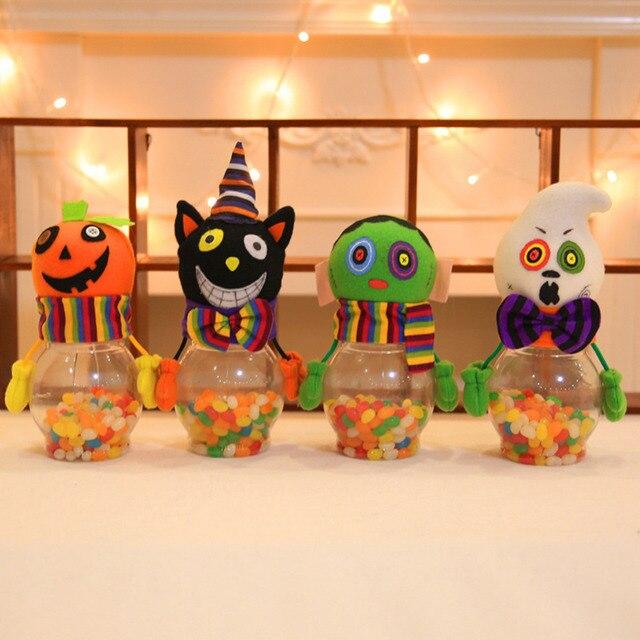 Zucca Halloween Gatto.Us 2 39 33 Di Sconto Halloween Bambini Del Fumetto Della Caramella Lattine Innovativo Trasparente Gatto Zucca Caramelle Lattine Regalo Fai Da Te