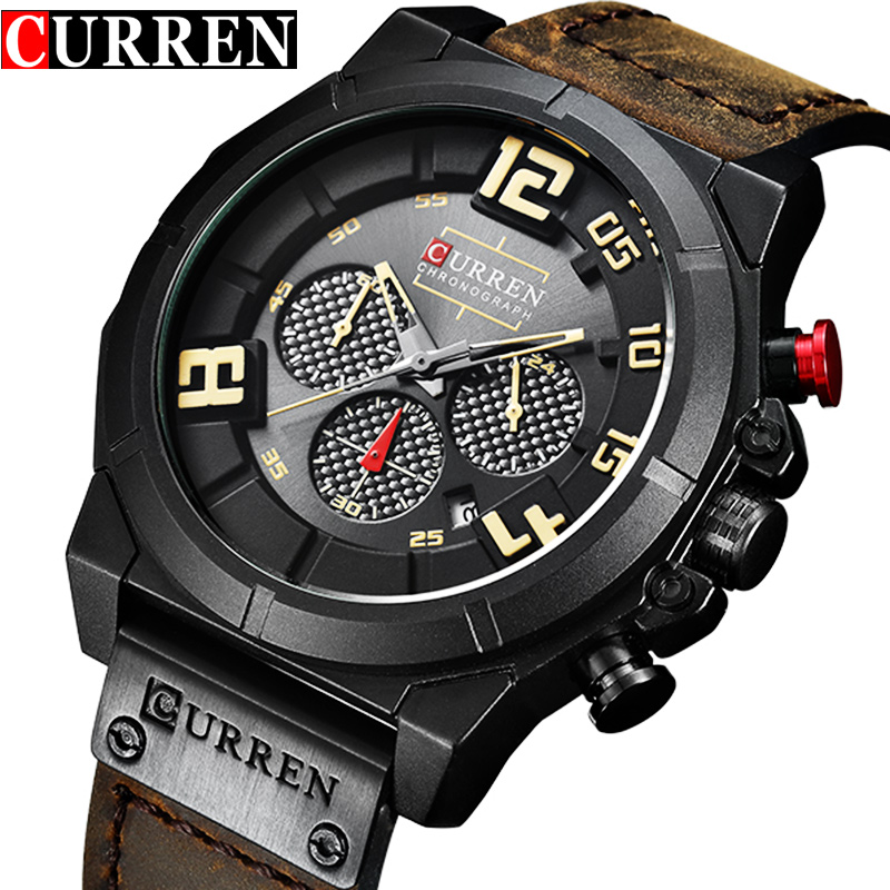 Curren Top Luxury Brand Men Sport Military Watches Men's Quartz Analog Wrist Watch Man Leather Clock Male Relogio Masculino New
