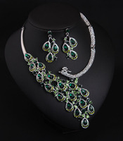 Luxury Rhinestones Full Crystal Choker Necklace Earrings Set Dark Green Flower Short Clavicle Bridal Prom Jewelry