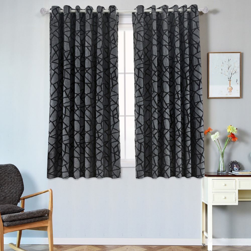 1 piece Short semi-blackout curtains bedroom window modern curtain ready  made living room kitchen window grommet top treatments