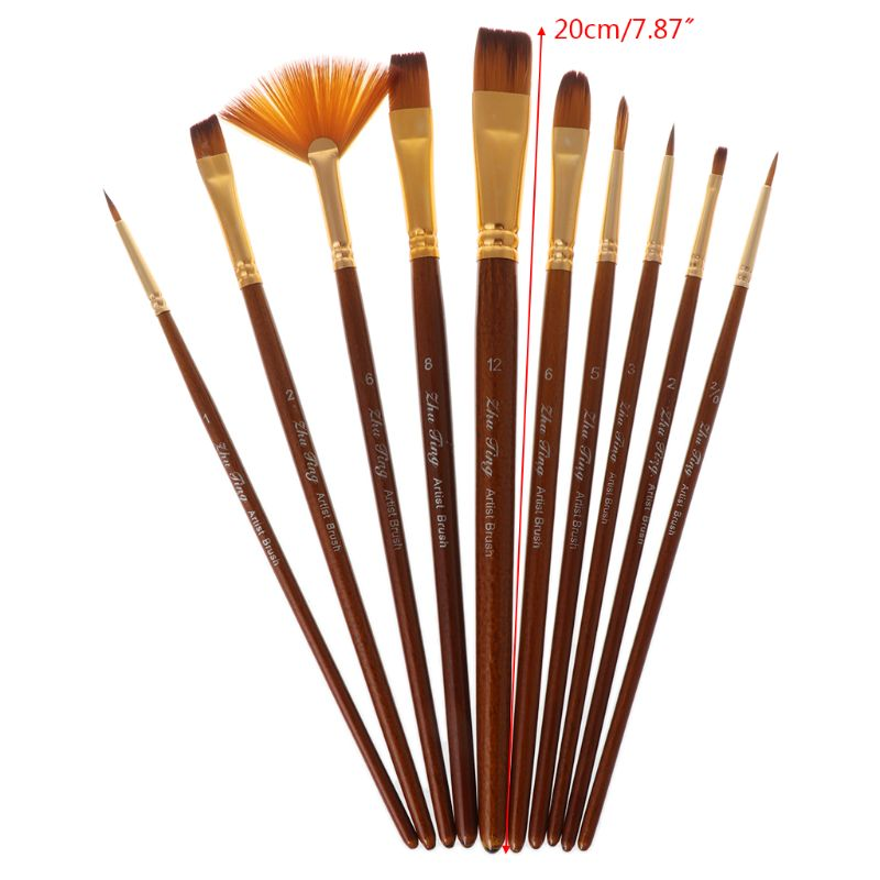 10Pcs Watercolor Paint Brushes Set Nylon Hair Painting Brush Variety Style Oil Acrylic Art Drawing Supplies
