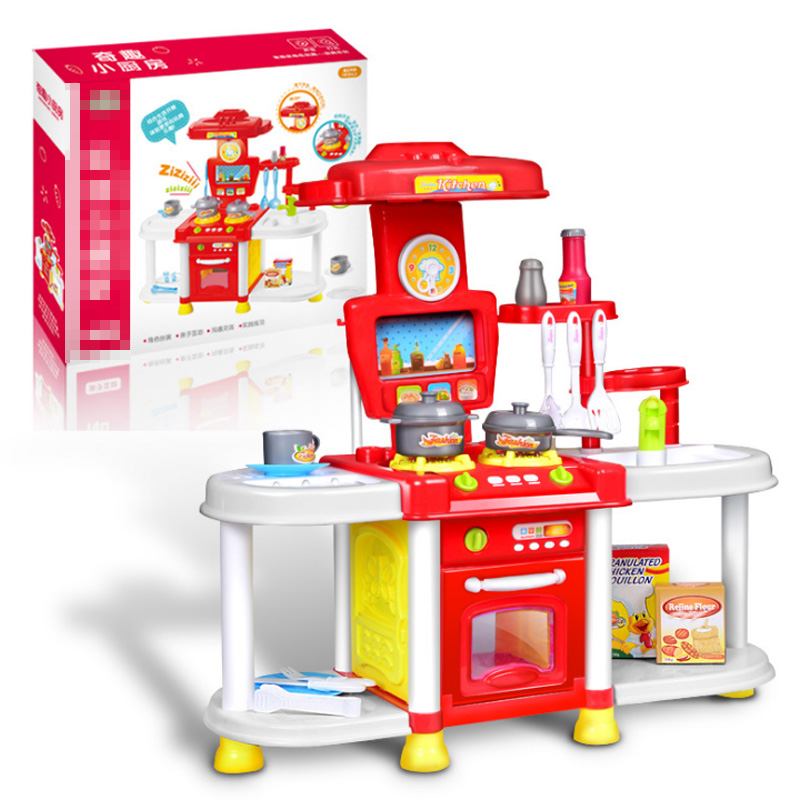New Baby Miniature Kitchen Set Plastic Pretend Play Food Children Toys With Music Light Kids Kitchen Cooking Toy New Year Gifts