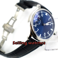 Butterfly buckle 2017 new fashion Blue dial 44mm PARNIS pilot 6497 Mechanical Ha