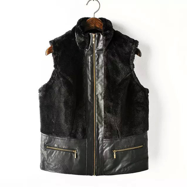 Autumn Winter Women Waistcoat Vest Coat Sleeveless Outerwear faux Fur Covered lady Leather zipper Coat FS0226