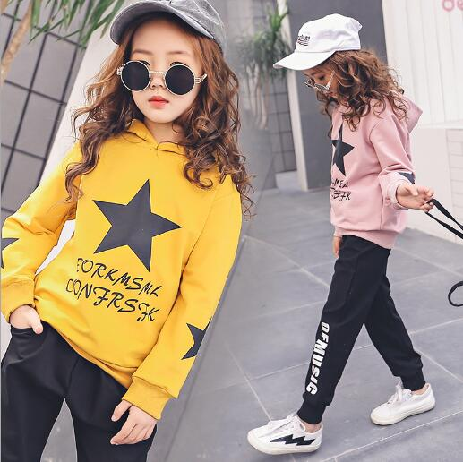 Girls Clothing Sets Autumn Style Floral Clothes Set For Girl Children Sport Suit Kids tracksuit Teenage 4- 13 Years summer kids clothes suit for girls 3 13 years children army green cotton shirt clothing set boys girls clothing sport suit 174b