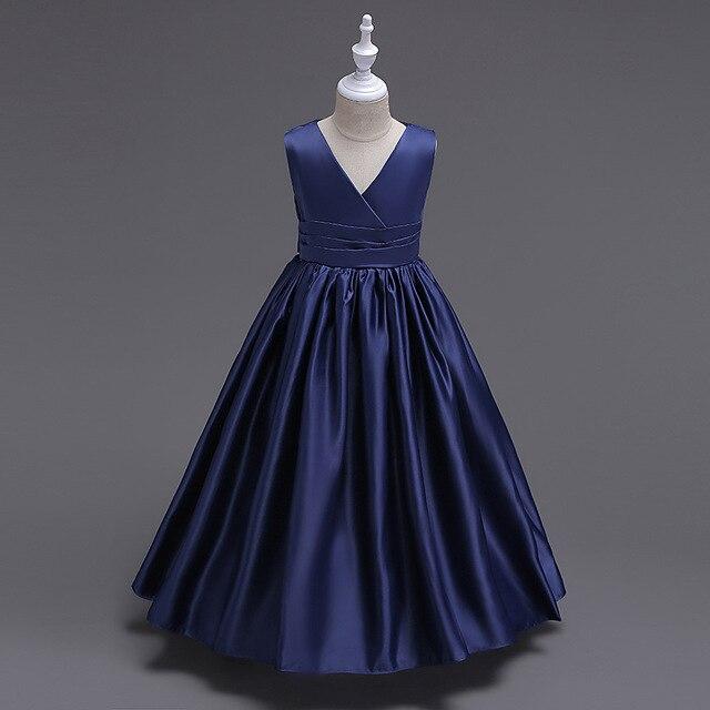 Blanco púrpura patchwork azul marino vestido largo para niños fiesta ...