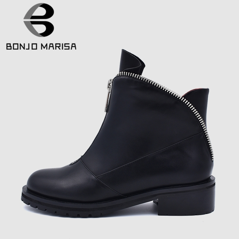 b54be6e3c4f6 De Style Occidental Talons Bonjomarisa Fur 34 Fur Zipper Femmes Chaussures  Black Marque Printemps Thin Cheville Conception forme Taille Plate 2019 ...