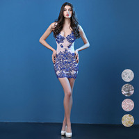 Summer Sexy Party Dress 2017 Women Hand Made Diamonds Perspective Wedding Runway Bodycon Women Club Dress