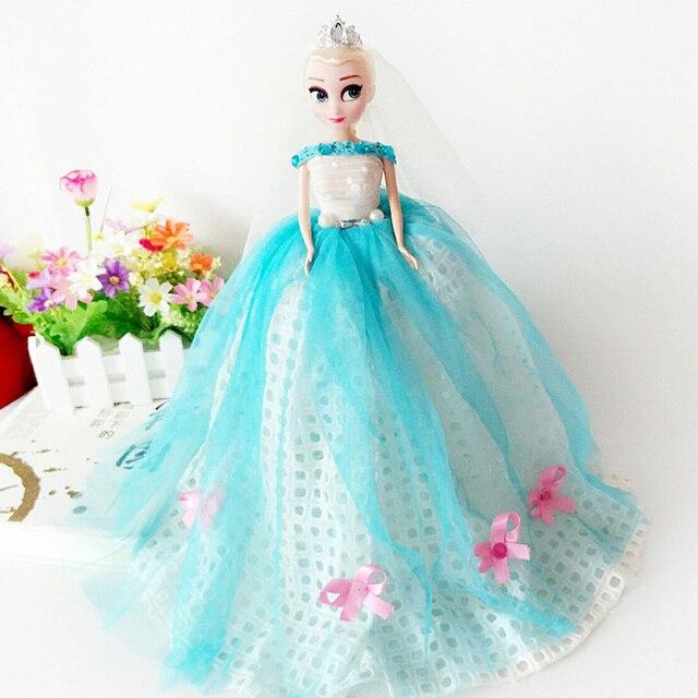 50cm Anime Cartoon Movies Anna And Elsa Princess Wedding Dress Doll ...