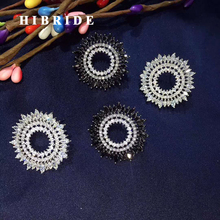 HIBRIDE New Beauty Sun Flower Austrian Crystal Stud Earring For Women Luxury Jewelry White Gold Color