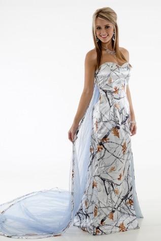 True Timber Snowfall White Camo Wedding Dresses 2019 Bridal Gowns