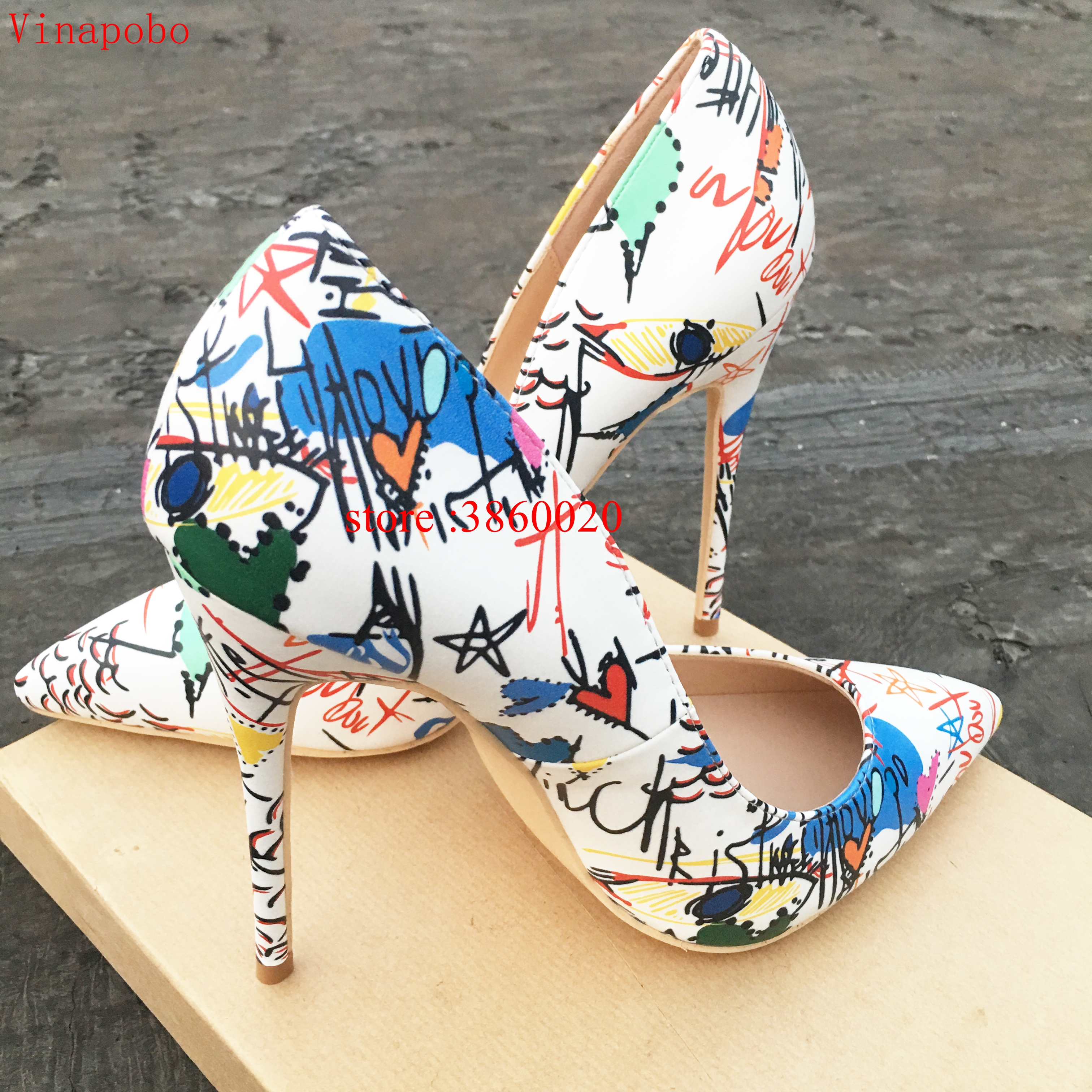 2019 New Runway Women Shoes White Graffiti Print Matte Leather High Heels Pumps Sexy Pointed Toe Office Ladies Party Dress Shoes