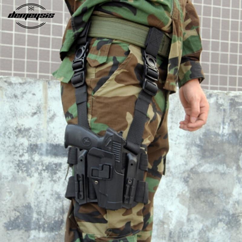 Black Tan Beretta Gun Holster With Magazine Pouch Right Hand Leg Gun Pistol Holster For Beretta M9  92 96