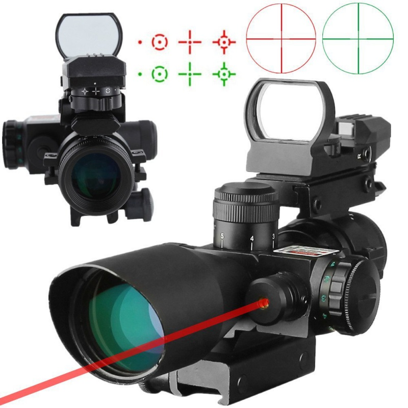 2.5-10x40 Tactical Rifle Scope Dual Illuminated Mil-dot with Red Laser Rail Mount & 4 Reticle Holographic Red Dot Sight 2 5 10x40 air rifle scope reticle red green dot mil dot dual illuminated sight with red laser w rail mount airsoft gun hunting