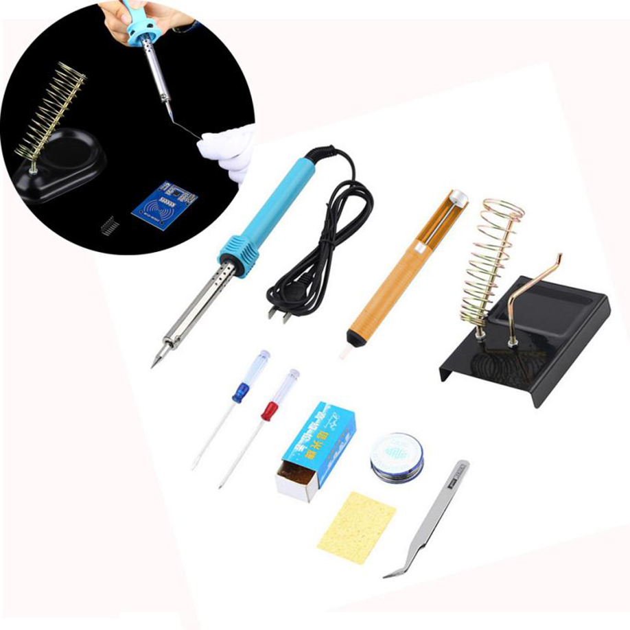 9 in1 60W Stainless Electric Soldering Iron Welding Solder Starter Tool Kit Set Electronic 60W (220V) Soldering Iron Screwdriver