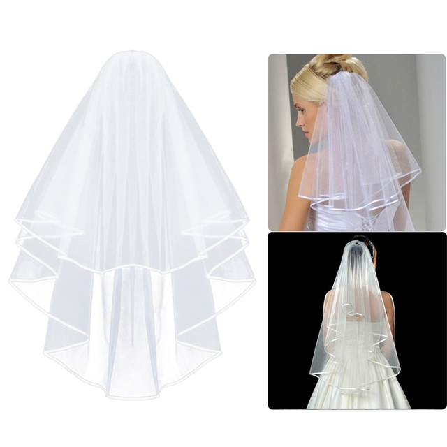 Simple and Elegent Wedding Veil  with Comb and Lace Ribbon