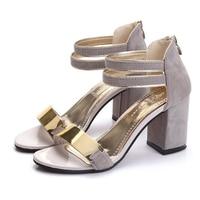 Women Sandals 2017 New Arrival Summer High Quality Flock High Heel Sandals Women Fashion Metal Decoration