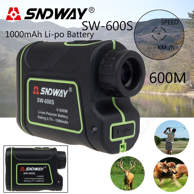 Free shipping SNDWAY Distance Laser 600M Finder Outdoor Golf font b Rangefinder b font Meter Speed