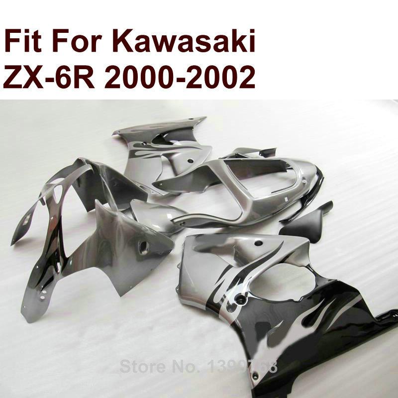 Kit del carenado para Kawasaki ZX6R negro blanco 2000 2001 2002 ZX ...