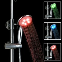 epak 2016 Brand New High Quality Adjustable 3 Colors LED Shower Head waterfall abs plastic round single shower head Bath