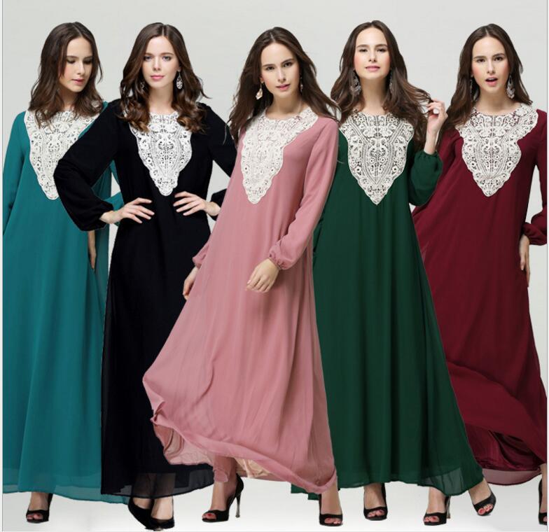 Muslim women Long sleeve Dubai Dress maxi abaya jalabiya islamic women dress clothing robe kaftan Moroccan fashion embroidey
