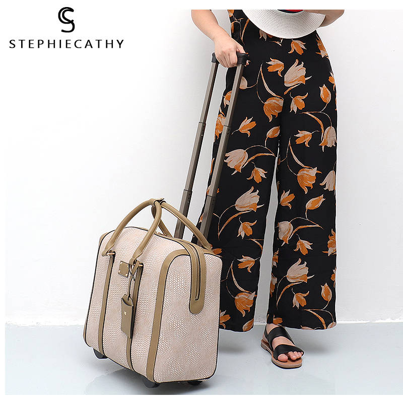 SC Large Fashion Women Carry Ons Travel Bag Vegan Leather Print Trolley Luggage Overnight Suitcase Holiday