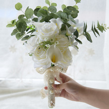 New Style Artificial Bride Bouquet 2018 Bridesmaid Bouquet Real Touch White Calla Lily Flowers Bridal Wedding Bouquet