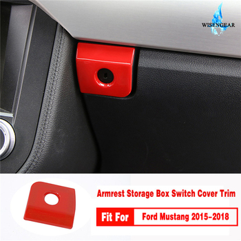 Red ABS Car Storage Box Switch Button Cover Trim Sticker For Ford Mustang 2015-2018 Glove Box Switch Button Frame / image