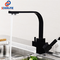 Black Square Kitchen Faucets 360 Degree Rotation 3 Way Water Filter Tap Water Faucets Solid Brass