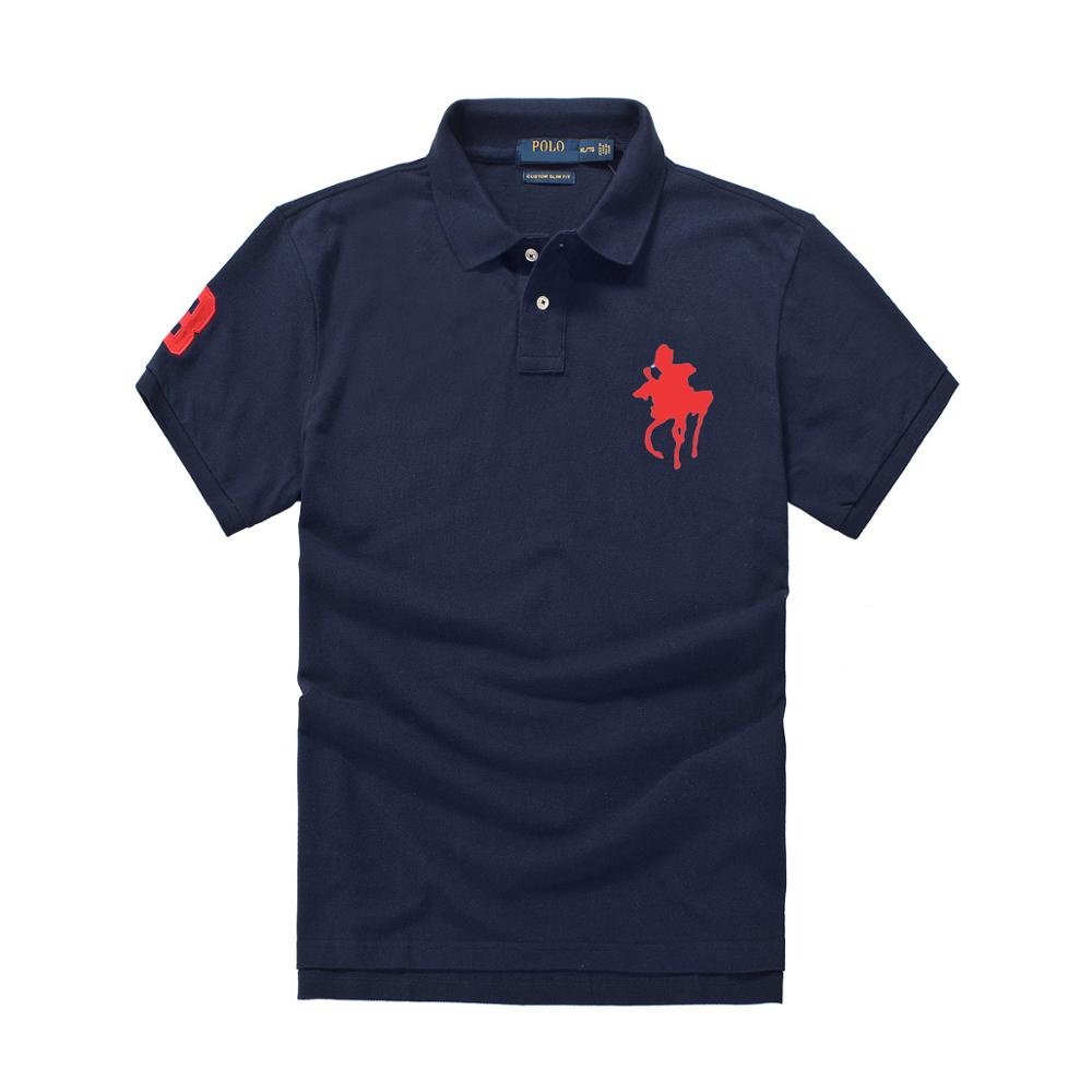 new 2019 men's brand   polo   shirt summer shirt 100% cotton short sleeve big horse embroidery   polo   homme de marque haute qualite