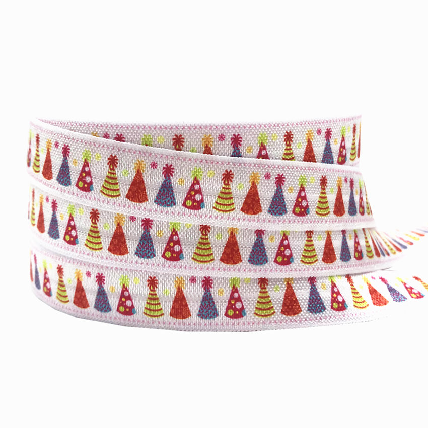 New Arrival 5 8 quot Christmas Tree Snowflake Print Fold Over Elastic FOE Christmas Elastic Ribbon for Women Headwear 10Yards lot in Women 39 s Hair Accessories from Apparel Accessories