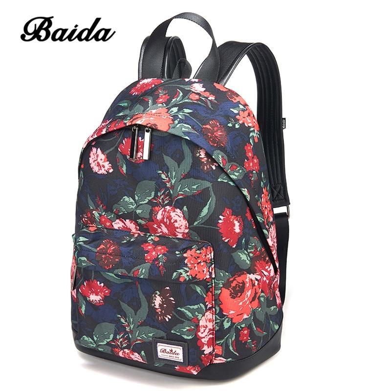 DAIDA Floral Printing Backpack Women Fashion Schoolbag Teenagers Girl's Shoulder Backbag Female Mochila Top Quality smocked floral cami top