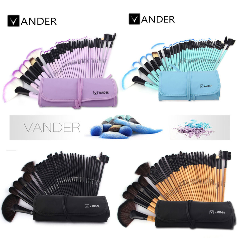 VANDER 32st Makeup Brushes Set Professional Cosmetics Brush Wenkbrauw Foundation Shadows Kabuki Make Up Gereedschap Kits + Pouch Bag