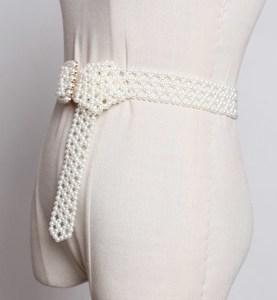 Image 2 - SeeBeautiful 새로운 패션 2020 여름 가을 남자 만든 화이트 진주 짠 중공업 와이드 벨트 스퀘어 핀 버클 거들 여성 A063