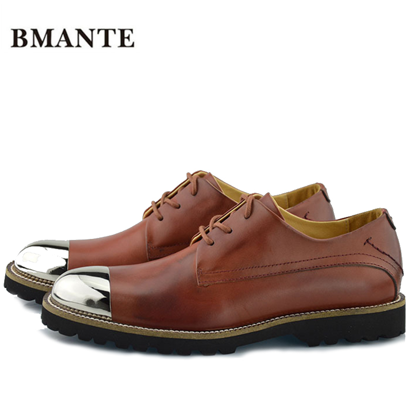 Male new Real leather Chaussure with metal tips chic Justin Bieber Chukka crepe chelsea formal marten